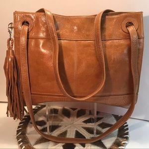 New HOBO Cognac Brown Fringe Zipper Shoulder Bag